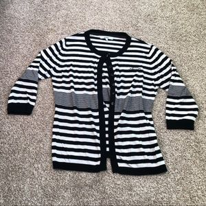 Abacus Striped Half Button Cardigan